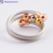 Newest Design Jewelry Stainless Steel Rose Gold Beads Cable Silver Ring Women