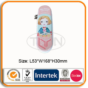 Custom Wholesale printed metal tin pencil box with zipper for kids