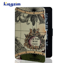 Wholesale Map Pattem PU Leather Case Cover For kindle Paperwhite Case 2016 New products