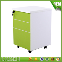 Simple commercial furniture wooden office 3 drawer mobile storage cabinet