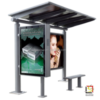 Urban facilities environmental LED light ceilling solar metal bus shelter