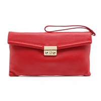 CSS1615-001 Latest Designed pattern ladies clutch bags red color pebble leather clutch bag with Leather Clutch Wristlet