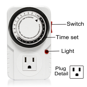 Dual Outlet Grounded Timer, Mechanical Timer