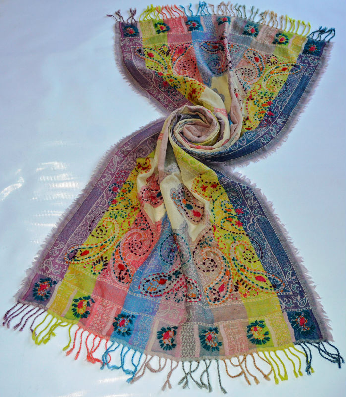paisley 100% wool scarf embroidery