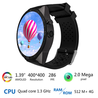 Best Kingwear KW88 android 5.1 OS Smart watch 1.39 inch screen mtk6580 SmartWatch phone support bluetooth 3G wifi nano SIM WCDMA