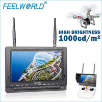 FEELWORLD 7inch auto scan high brightness 1000cd/m2 fpv hd monitor to audio video transmitter and receiver 2 input