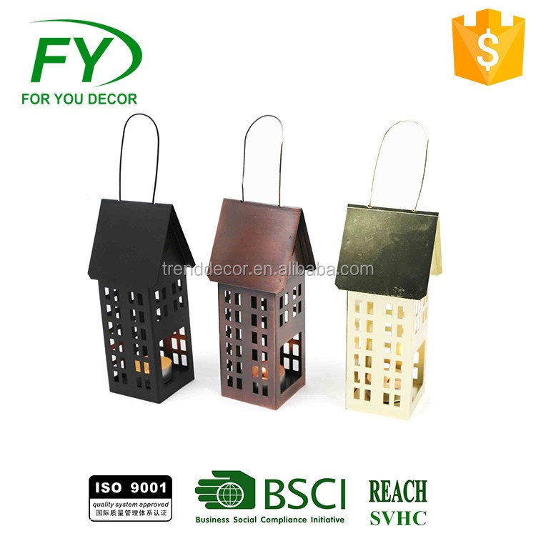 Modern style outdoor garden and dinner party metal candle holder with LED light