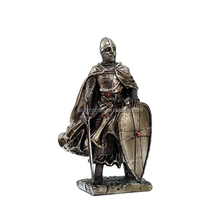 "7""Crusader Knight Statue Silver Cold Cast Resin Statue"