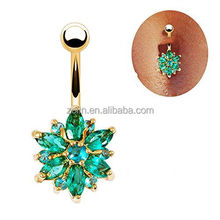 Beautiful Flower Cubic Zirconia Belly Button Bar Barbell Navel Ring Body Piercing Jewelry (Golden + Green)