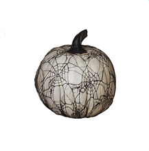White Resin Craft Halloween Pumpkin with Spider Web Lace Standard