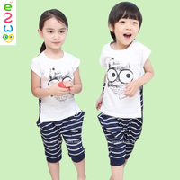 Children Black Cat Neutral Striped Suits Short Sleeve Summer Children Clothing Set Boys Swimming Suits