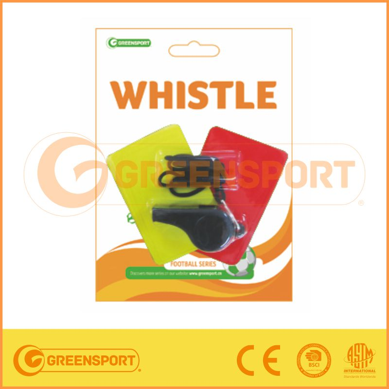 cheap plastic whistle with red and yellow card