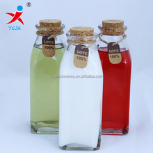 350ml Clear Square Empty Glass Bottle with Cork