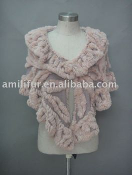 Fashion Ladies Knitted Shawl With Real Rabbit Fur Trim (Style:#B203)