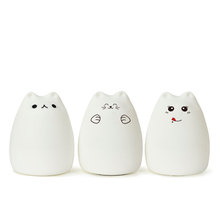 Colorful Cat Silicone LED Night Light USB Rechargeable Cartoon Baby Bedroom Touch led mini sensor light
