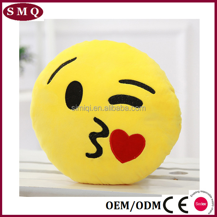 Stuffed emoji pillows kiss love heart smile face yellow round microbead cushion pillow