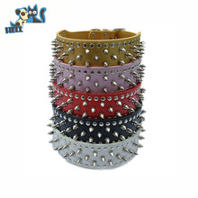 Personalized Waterproof Spiked Leather 2 Inch Large Wide Dog Collars