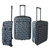 3pcs set soft luggage/ trolleycase with printed fabric/lightweight suitcase