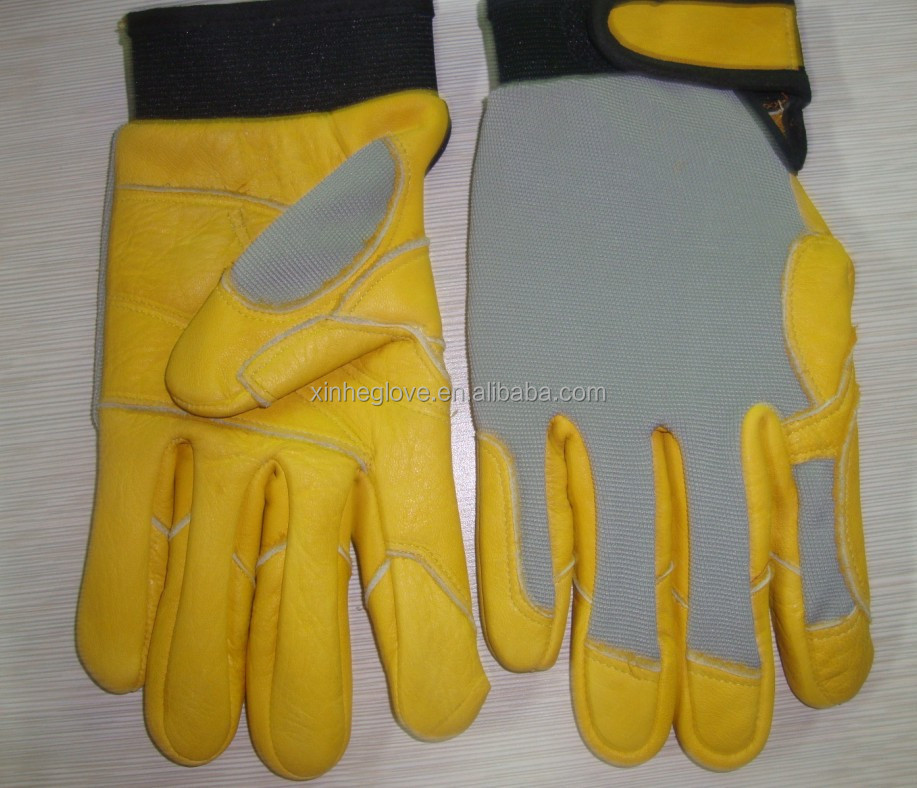 Deerskin leather mechanic glove with full liner