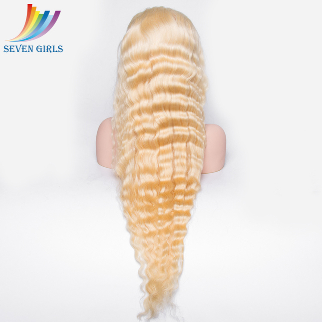 Factory direct sell 30inch real human hair deep wave shedding free blonde wig