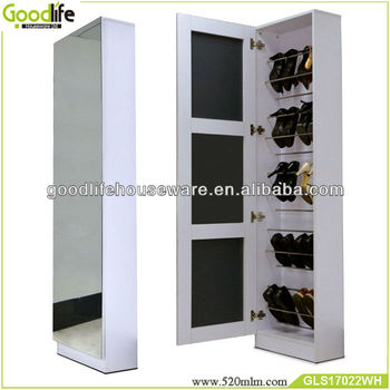 Top grade wooden shoe rack with full length mirror door