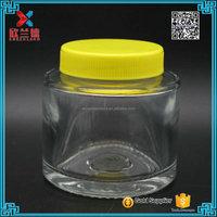 high quality 9OZ 250ml clear round glass juice bottle/ glass honey jar/ glass jam jar competitive price