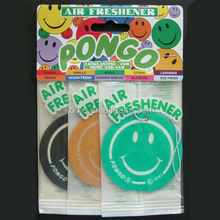 Smile face screen printing paper car air freshener
