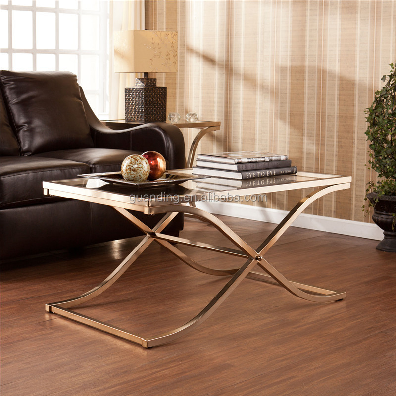 home decorative metal modern glass top Champagne Brass Coffee Table