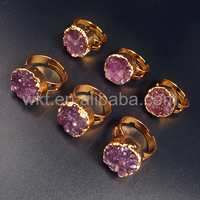 WT-R245 Wholesale Amazing 15mm Round Raw amethyst ring in 24k gold plated