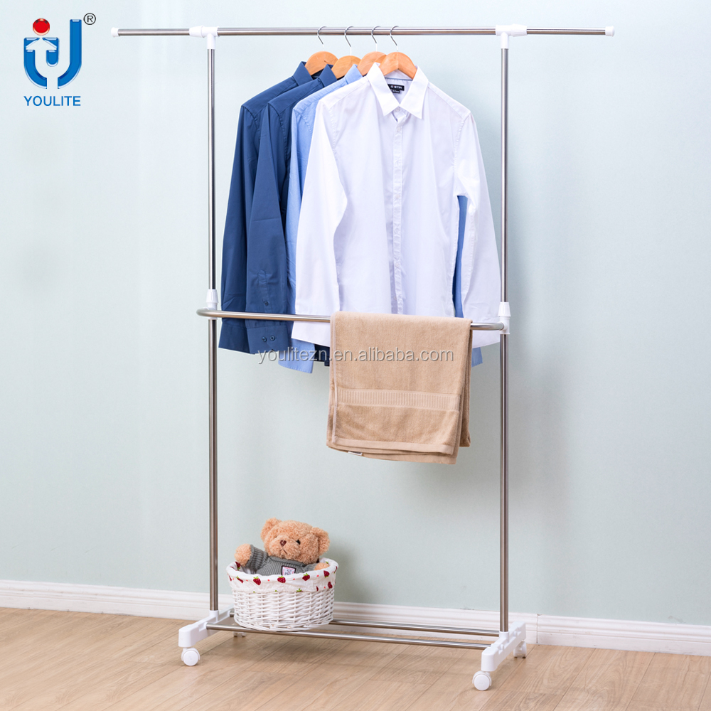 Single pole telescopic movable clothes hanger rack