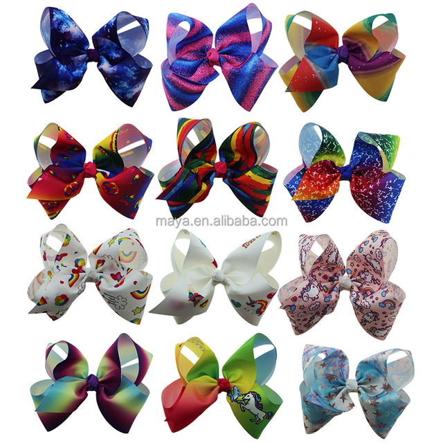 2018 Newest Big bowknot hairpins girl barrettes large colorful unicorn bow Rainbow Ribbon hair clip nylon band Hair