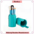 2017 Amazon hot selling green handle 12pcs makeup brushes with advanced package