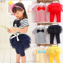 Pretty white and black stripe baby girl clothing ,autumn kid clothes set with tutu skirt