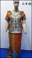 C-9(6) African bazin jacquard embroidery clothing for woman 1set Garment