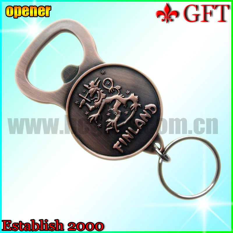Finland portable antique brass bottle opener with key holder