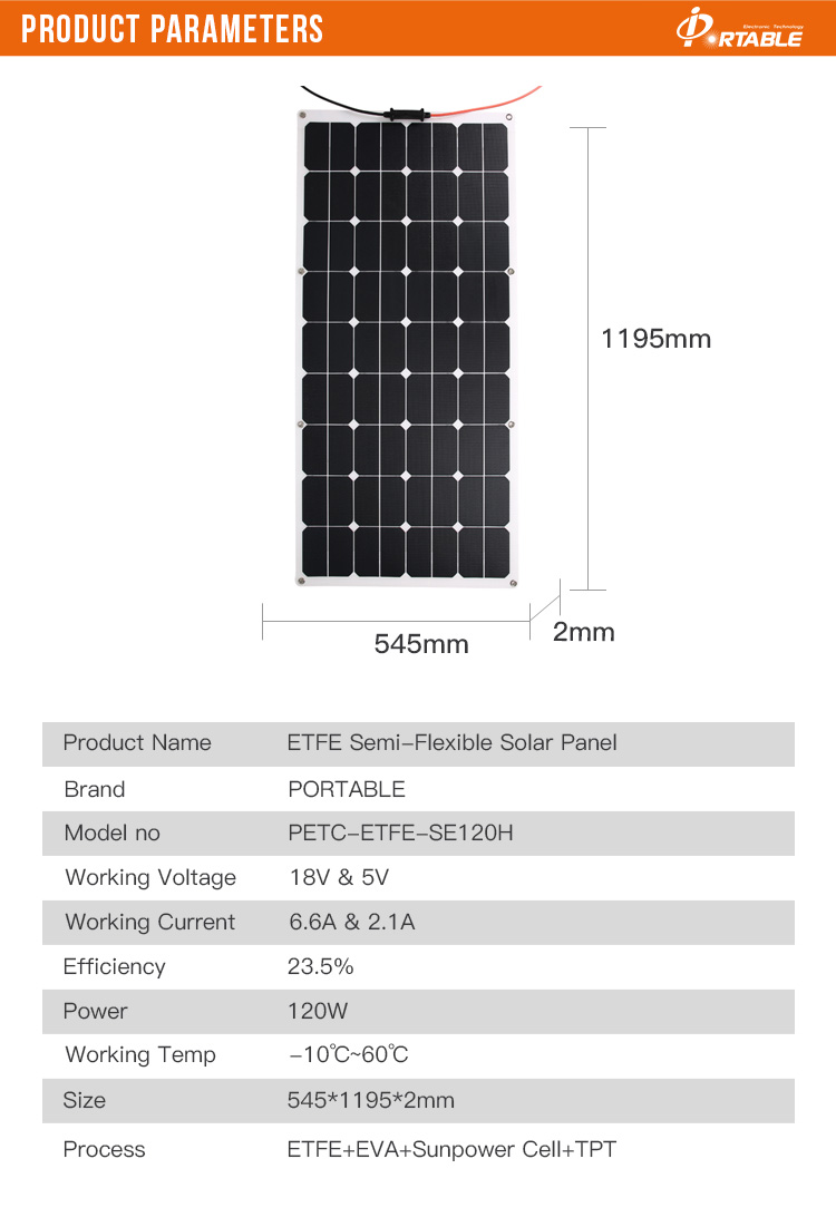 High efficiency 12v 120W ETFE flexible  solar panel china  for caravan, boat