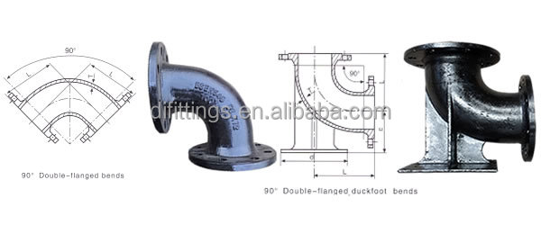Ductile iron pipe fitting double flange bend