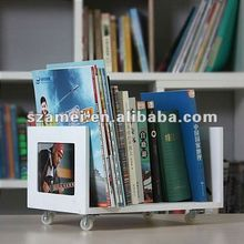 New Design and good quality free standing acrylic shelf for magazines