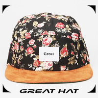 Suede brim men and women customize new coming floral 5 panels hats
