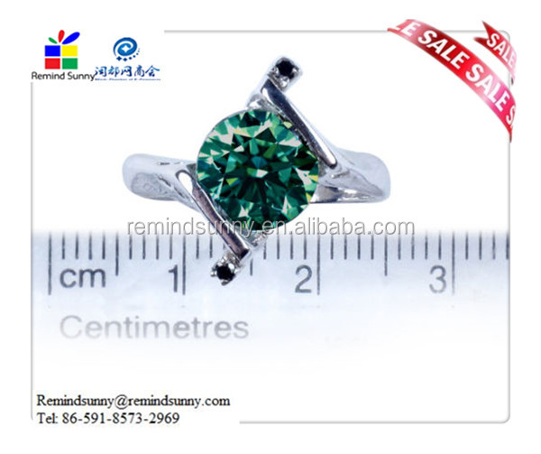 BLUE GREEN REAL ROUND MOISSANITE & NATURAL BLACK DIAMOND SILVER RING