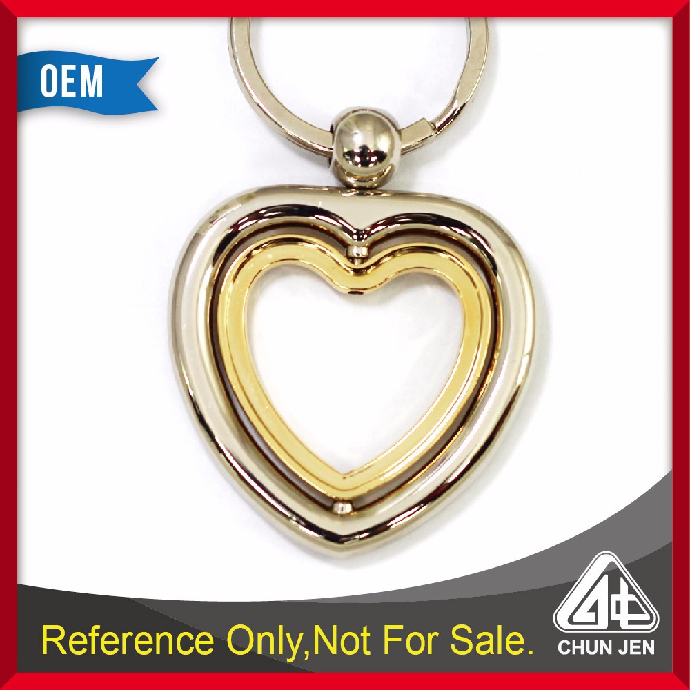 High Qulaity Double hearts rotating round metal keychain