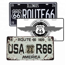 American style logo Route 66 반사 빈티지 personalized 차 양각 license 판