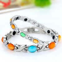 Celebrity Bio Bracelet TITANIUM Anion Magnetic Wristband Germanium Power Opal Health Energy Bangle