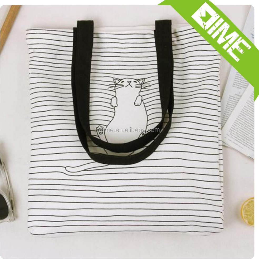 China Cheap Black And White Striped Cat Shoulder Bag Cotton Canvas Bag