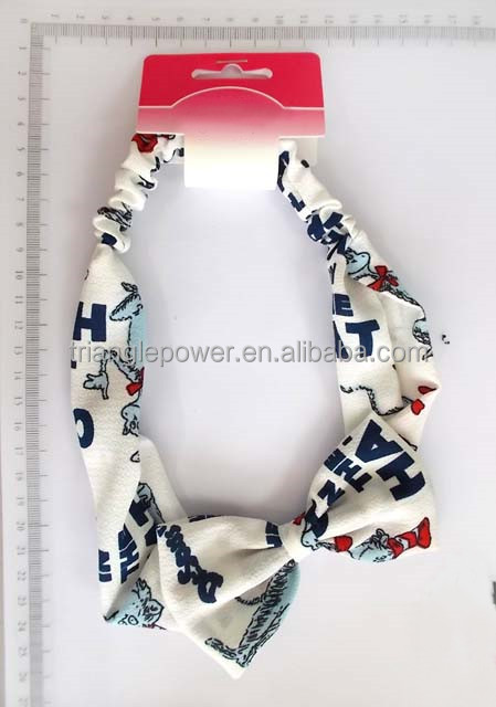 Lovely fabric bow tie with carton and letter printing elastic headband for kids