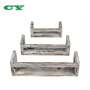 Set of 3 U Shape Rustic Wall Mount Floating Shelves for Room and Office