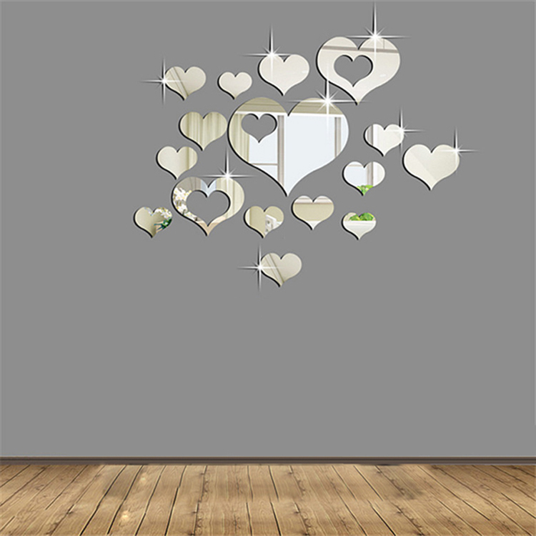 Hot Fashion 16PCS Silver Mirror Hearts Decoration DIY Plastic 3D Wall Stickers