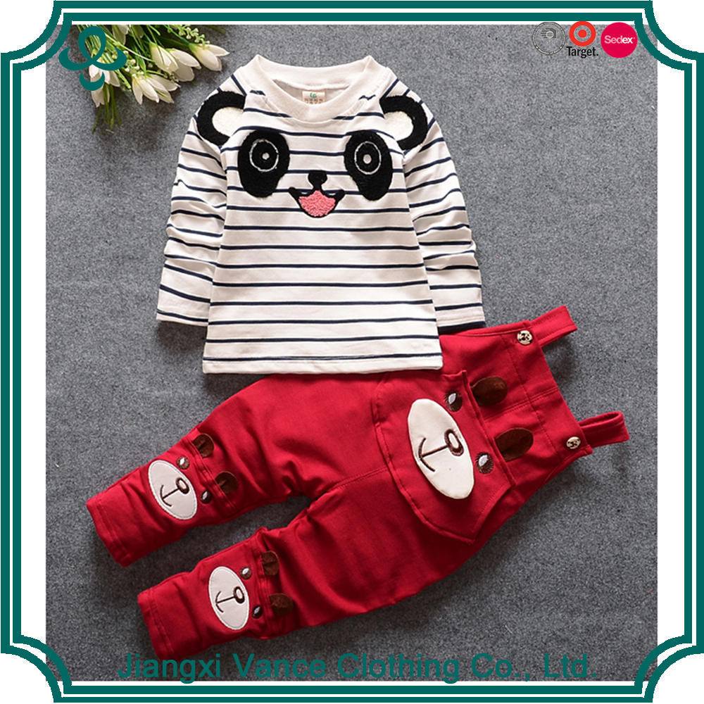 Free Shipping Baby Kids Clothing Set 2 Pieces Red Cartoon Long Sleeve T Shirt And Sport Pants Spring Children Wear