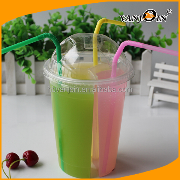 Food Grade 860ml PP Plastic Triple Bubble Tea Cup/Split Sharing Cups/Milk Cups