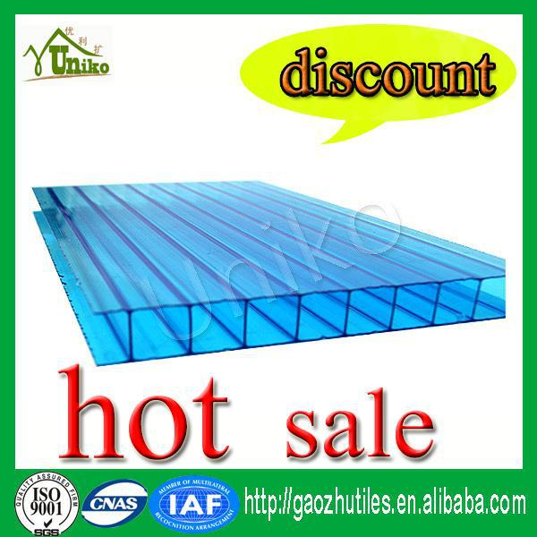 Triple/three wall 8mm polycarbonate hollow sheet for skylight